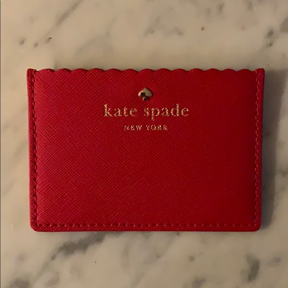 kate spade Accessories - NWOT Kate Spade Red + Pink Scalloped Card Case